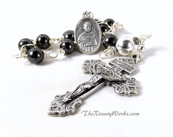 St Peregrine Rosary Chaplet Mens Hematite Patron Saint of Cancer Relic Sacred Heart Undoer of Knots Single Decade Wire Wrapped Unbreakable