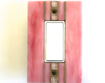 Pink Switch Plate, Stained Glass Switchplate, Light Switch Cover, Girl's Wall Plate, Pink Glass, Single Decora, Dimmer Switch, Outlet, 8435