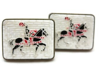 Knight Cufflinks - Horses, Mosaic Look, Cuff Links