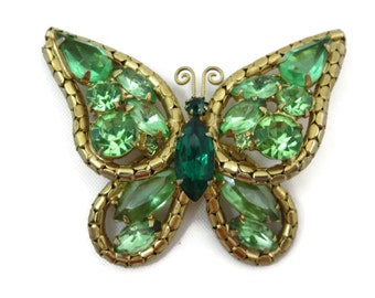 Rhinestone Brooch - Green Butterfly Brooch, Butterfly Jewelry, Costume Jewelry