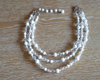 Vintage White Clear Bead Three Strand Necklace Chocker
