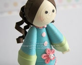 Paper Quilled Miniature Doll in teal dress, READY TO SHIP