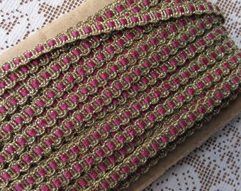 3 Yards Delicate Narrow Metallic Trim In Gold And Rose Old Store Stock  VT 03