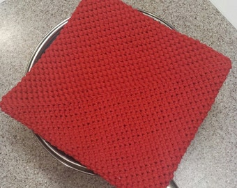 Pot Holder (One), Crocheted, Double Thick for Extra Protection – Red (Extra Large)