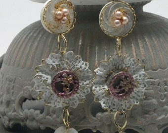 "Lovely Long White Filigree LACE EARRINGS 3.5"" Antique Victorian Pink Floral Flower Button Blush Glass Pearls MOP Heart  Boho Wedding"