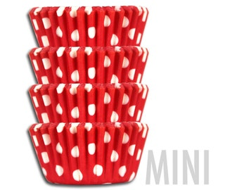 Mini Red Polka Dot Baking Cups - 50 mini paper cupcake liners