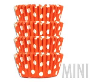 Mini Orange Polka Dot Baking Cups - 50 mini paper cupcake liners