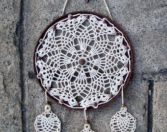 Dream Catcher/Wall Hanging Crochet Doily on Rusted Metal