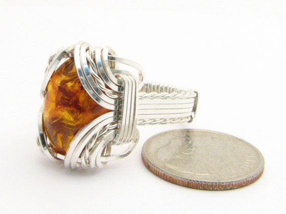 Wire Wrapped Ring Handmade Solid Sterling Silver Wire Wrap Amber Cabochon Gemstone Statement Ring