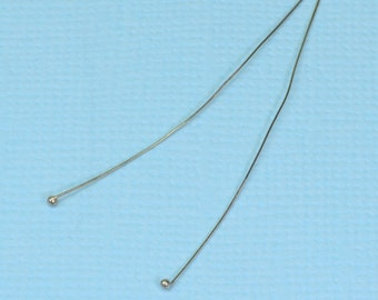 28 gauge 14k Solid White Gold 1.5 INCH Ball Headpin (2)