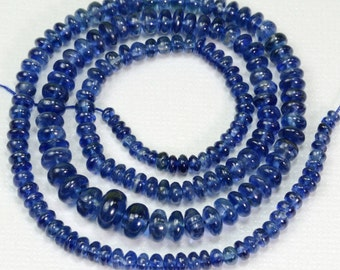 3.5mm-7mm Sapphire Blue Kyanite Smooth Plain Rondelle Beads 16.5 inch strand