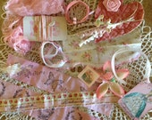 VINTAGE COLLECTION - Pink & White Collage - Assemblage -  Vignette - Hand stamped French trim and more