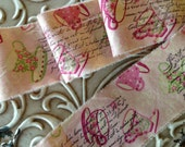 TIME FOR TEA  -  French Inspired Teacup  and Roses Distressed Fabric Hand Stamped Trim