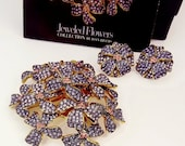 ON HOLD FOR M Joan Rivers Jeweled Flowers Brooch Violet Flower Brooch In Box With Matching Earrings