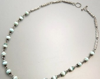 Sterling Silver Blue Cats Eye Bead Necklace