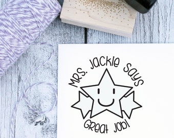 Teacher Stamp, Star, Personalized Teacher Gift, School Stamp, Great Job, From The Desk, Wood Stamp, Rubber, Self Inking, From the Classroom