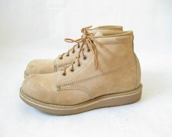Vintage Brown Leather Lace Up Ranger Work Boots. Size 6 1/2 Womens