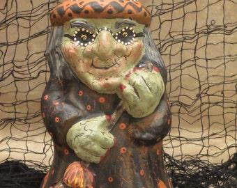 """Paper mache 9 3/4"""" Halloween Witch"""