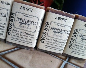 Amyris 4 Pack of Half Bars - Guest Soap, Stocking Stuffer, Thank You gift - All Natural Vegan Soap For Men and Women