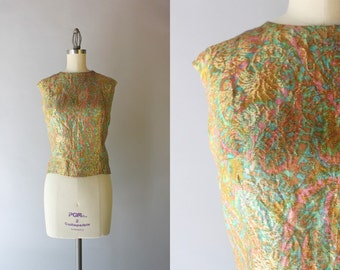 1960s Metallic Gold Top / Vintage 50s 60s Golden Paisley Blouse / 1950s French Tank
