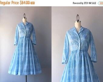 STOREWIDE SALE Vintage Jerry Gilden Dress / 1950s Sheer Exotic Blue Day Dress / 50s Jerry Gilden Dress
