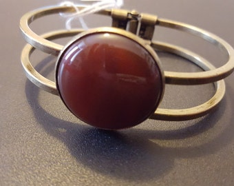 Beautiful Steampunk Inspired Semi-precious Carnelian Bracelet