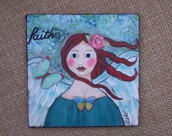 "Angel Painting Mixed media Encaustic OOAK Original ""faith"" FREE Shipping Debi Original"