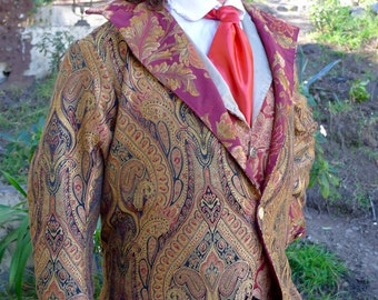 Umber and Onyx Paisley Steampunk Frock Cutaway Swallowtail Wedding Jacket