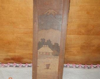 Antique Wooden Pencil Box Folkart Design on Top