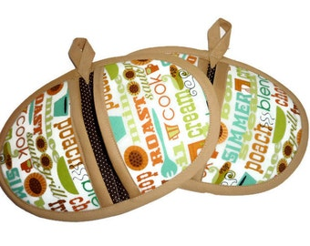Cooking Terms Pot Pinchers, Pot Holders- Set of 2