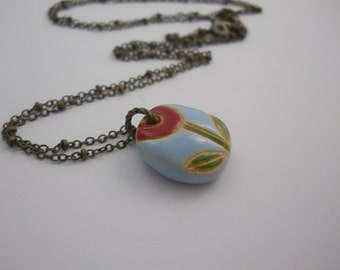 Small Ceramic Pendant on Long Brass Beaded Chain Mod Flower Golem Bead Made in Bulgaria
