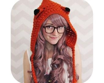 INSTANT DOWNLOAD - Kawaii fox hood hat - mori girl - PDF crochet pattern