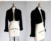 VALENTINES DAY SALE 1980s vintage black velvet cropped bolero jacket / xs - s