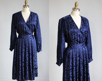 1980s midnight blue SILK wrap dress mid length / s