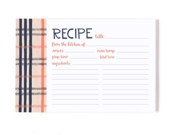 Fireside Plaid Recipe Cards - Set of 50 with Dividers // 1canoe2 // Hand illustrated