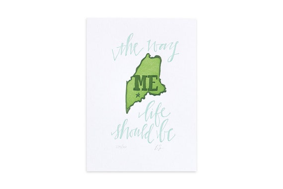 Maine Letterpress State Print