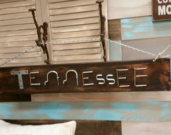 Custom Handmade Recycled Wood Sign using Hardware