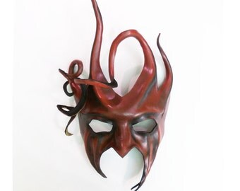 Devilish Jester or Tree Leather Mask with Spirals and Horns red & black looks GREAT on scary and elegant