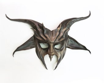 Goat Leather Mask in grey with black and brown  Krampus Baphomet Pan costume wall art