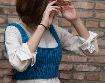 Cropped Sweater Vest - Hand Knit