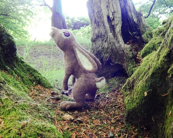 Moon Gazing hare. Needle felted Hare Sculpture by Artist BenMcfuzzylugs