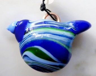 Summer Bird - a large blue and green lampwork pendant with a bronze bail
