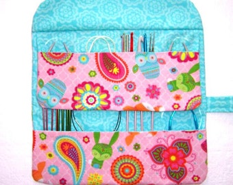 Pink Circular Needle Holder, Owls Foxes Blue Crochet Hook Case, Double Pointed Needle DPN Storage, Makeup and Artist Brushes Organizer Roll