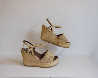 70s shoes / Vintage 1970's Platform Wedge Espadrille Sbicca Shoes