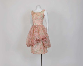 1950s dress / Feeling Rosie Vintage 50's Roses Full Bubble Skirt Party Dress