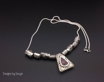 Reversible Sterling silver and Lepidolite necklace, lilac stones