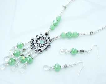 SET - Pastel Green & White Multi-Pendant Necklace and Earrings Wedding Idea