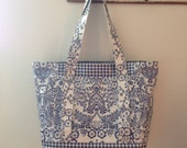 Beth's Blue Paradise Oilcloth Multi Market Tote Bag
