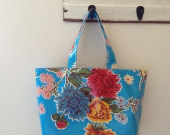 Beth's Large Blue Mum Oilcloth Market Tote Bag
