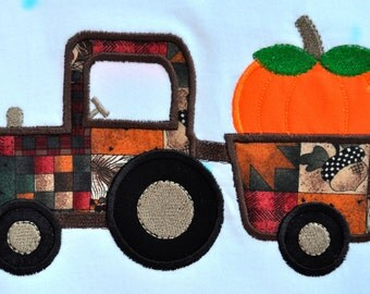 Thanksgiving tractor hauling pumpkin appliqued on toddler Tshirt
